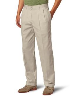 IZOD Men's American Chino Pleated Pant, English Khaki, 32W x