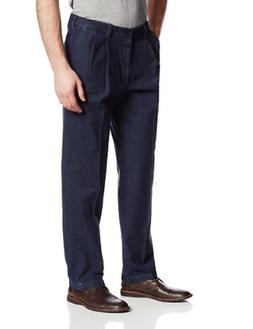 Haggar Men's Expandable Waist No Iron Dark Denim Pleat Front