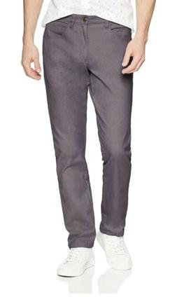 Goodthreads Flat Front Slim Men's Pants, Gray, 35x34