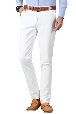 INFLATION Men's Flat Front Slim Tapered Stretch Casual Pants