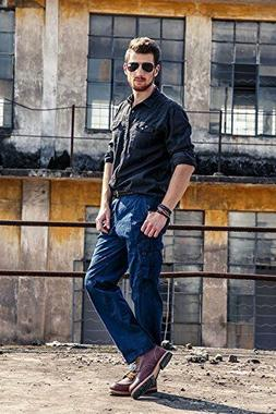 INFLATION Mens Wild Casual Cargo Pants Loose-Fit,100% Cotton