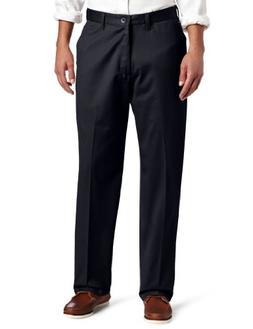 Lee Men's No Iron Relaxed Fit Flat Front Pant, Black, 29W x