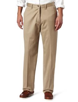 Lee Men's No Iron Relaxed Fit Flat Front Pant, Mid-Khaki, 29