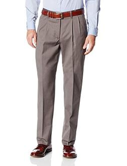 Lee Men's No Iron Relaxed Fit Pleated Pant, Granite, 29W x 3