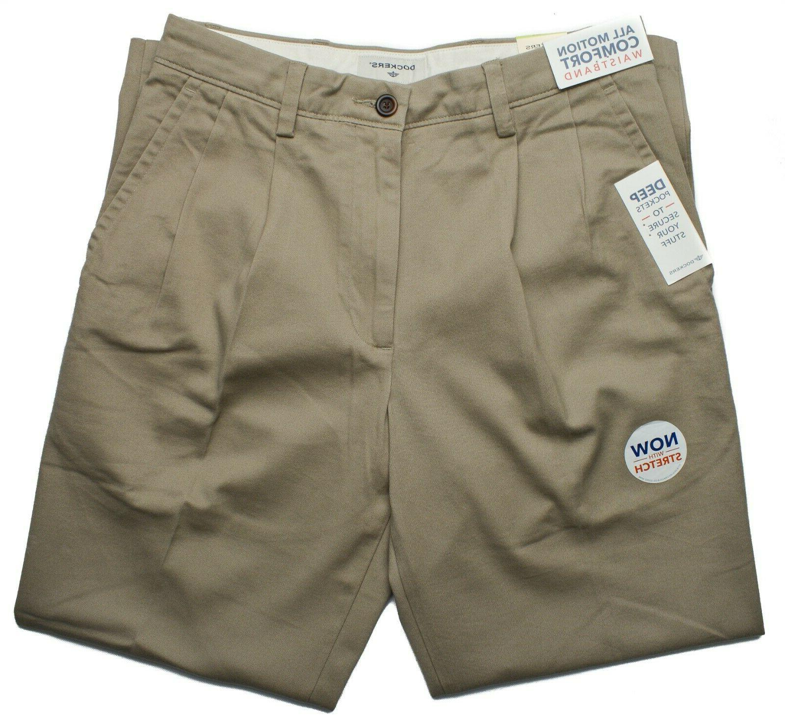 Dockers NEW Pleated Classic Fit Khaki Stretch Pants