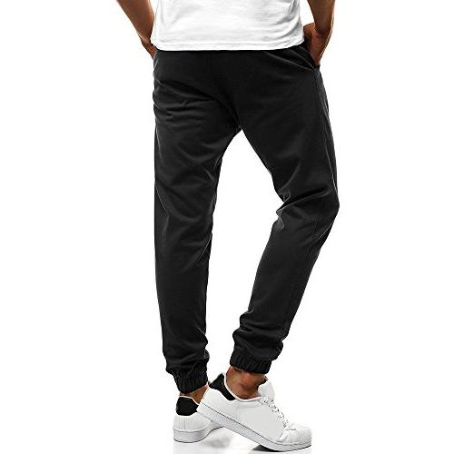Colmkley Casual Gym Trainning Button Jogger Pants Sweatpants Solid Color