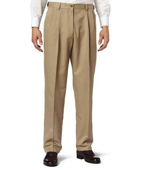 Haggar Pants Classic Pleated Expandable Waist Stretch Tan