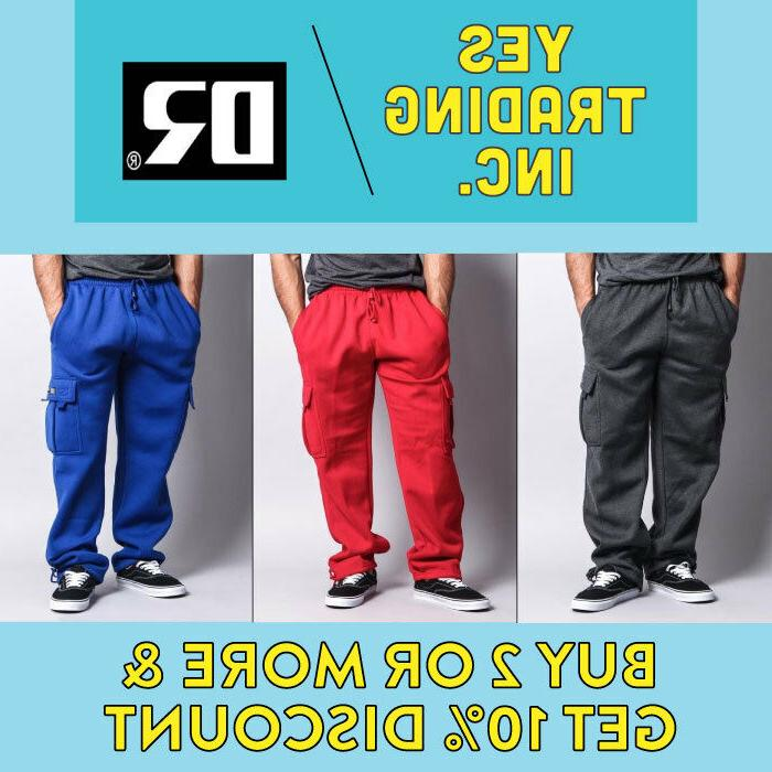 DREAMUSA MENS CASUAL CARGO PANTS PLAIN FLEECE SWEATPANTS BIG
