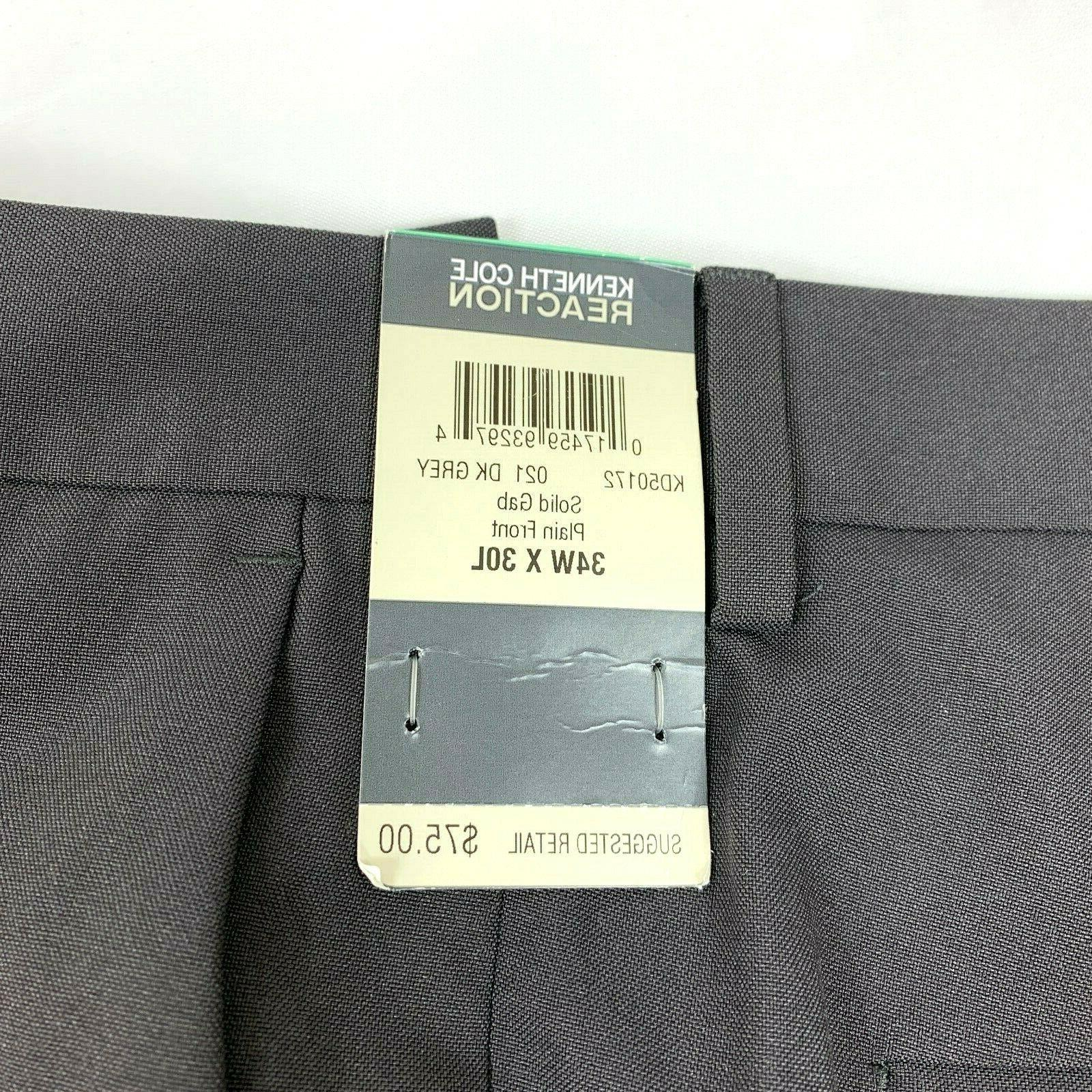 Pants Men's Drk Grey Plain Front NWT