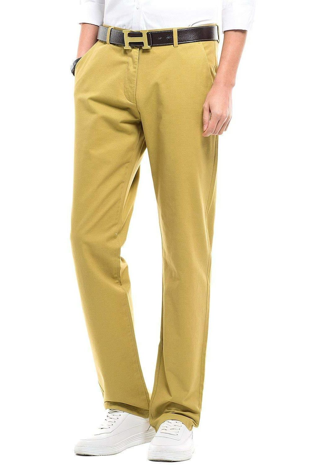 INFLATION Men's Stretchy Straight Fit Casual Pants,100% Cott