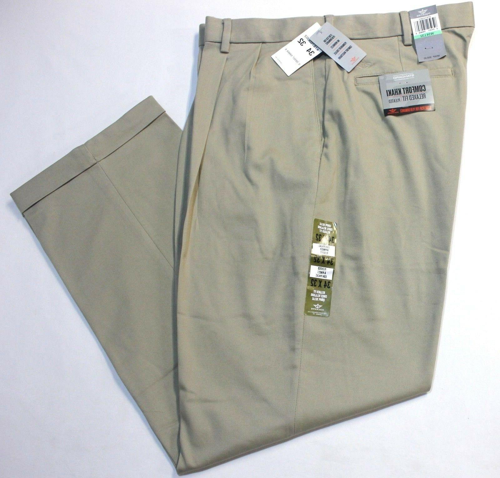 men comfort khaki relaxed fit pleated beige