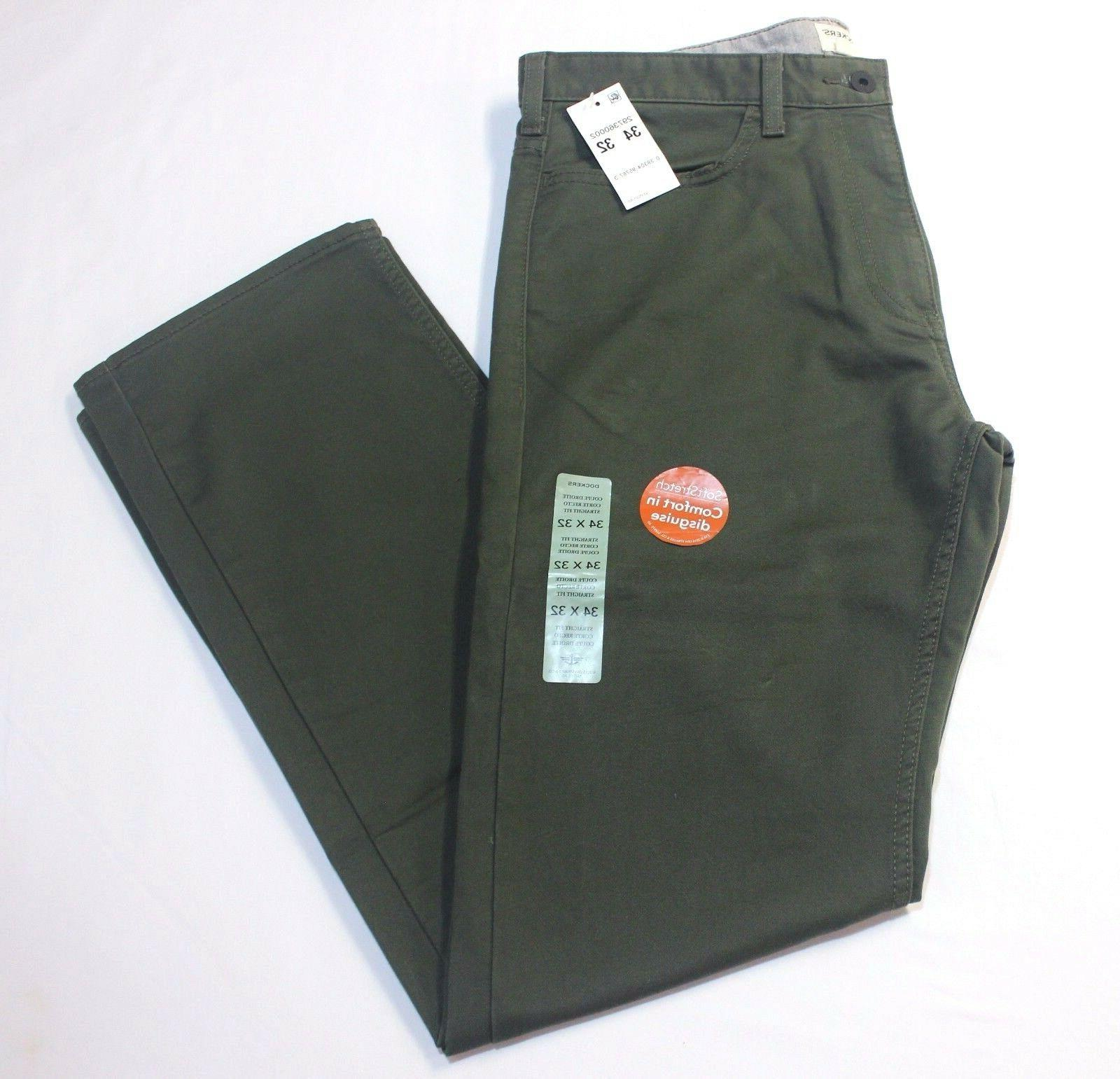 Men Dockers Jean Cut Straight Fit Flat Front Olive Green Sof