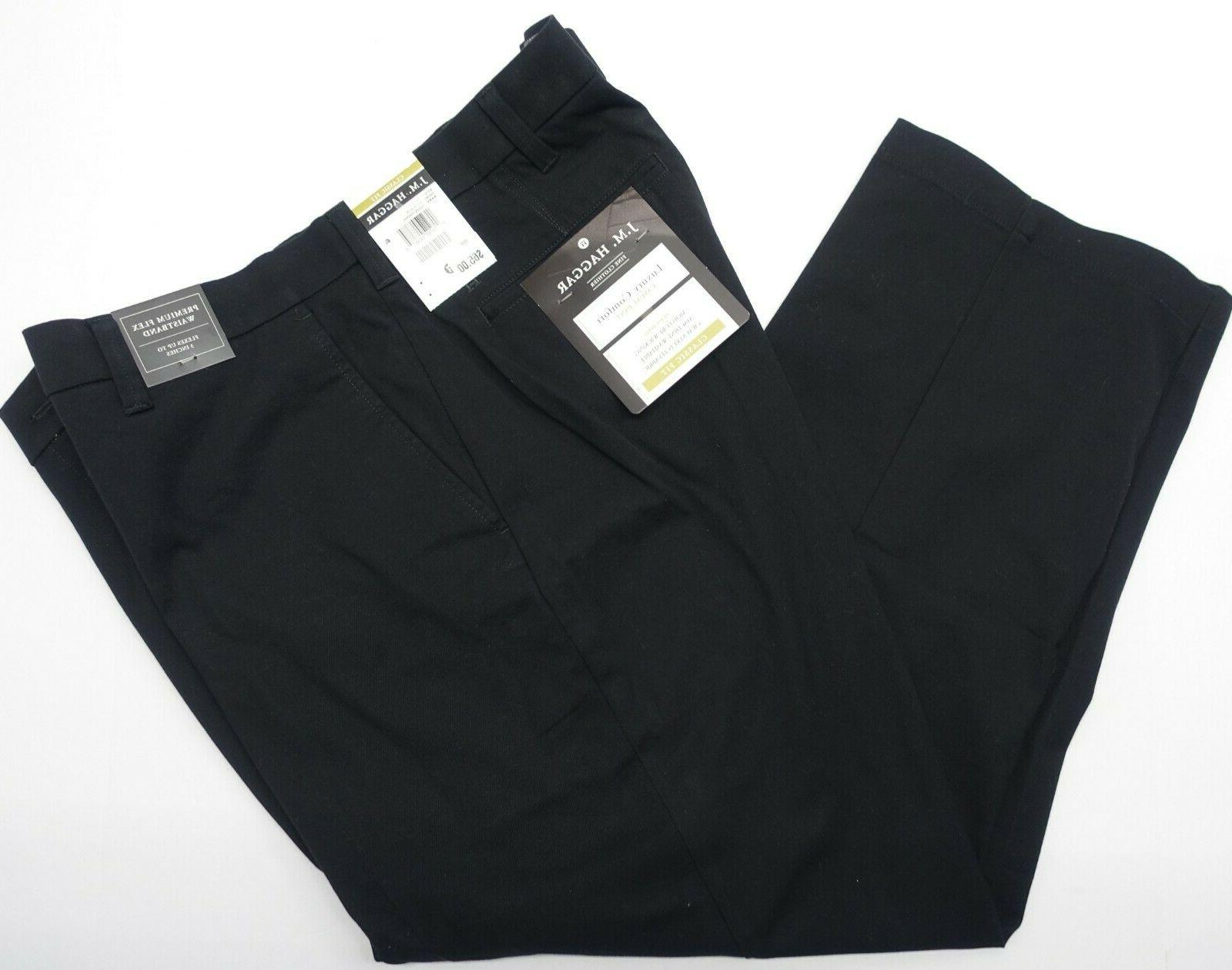 Men JM Haggar Comfort Pants Premium Flex Waist Classic Fit Way Stretch