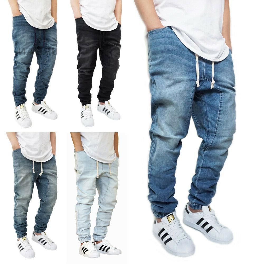 men s denim slim fit jogger pants