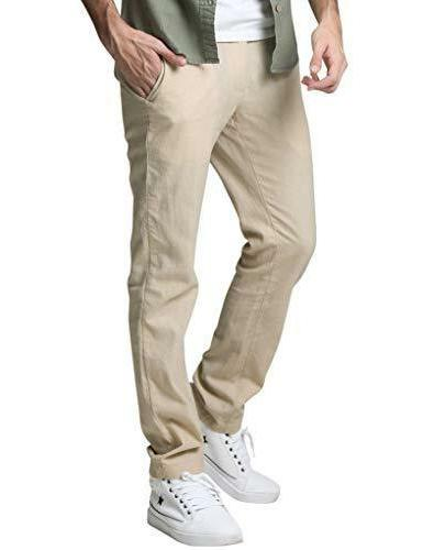 Match Slim Tapered Linen Casual Pants #8059 Apricot.
