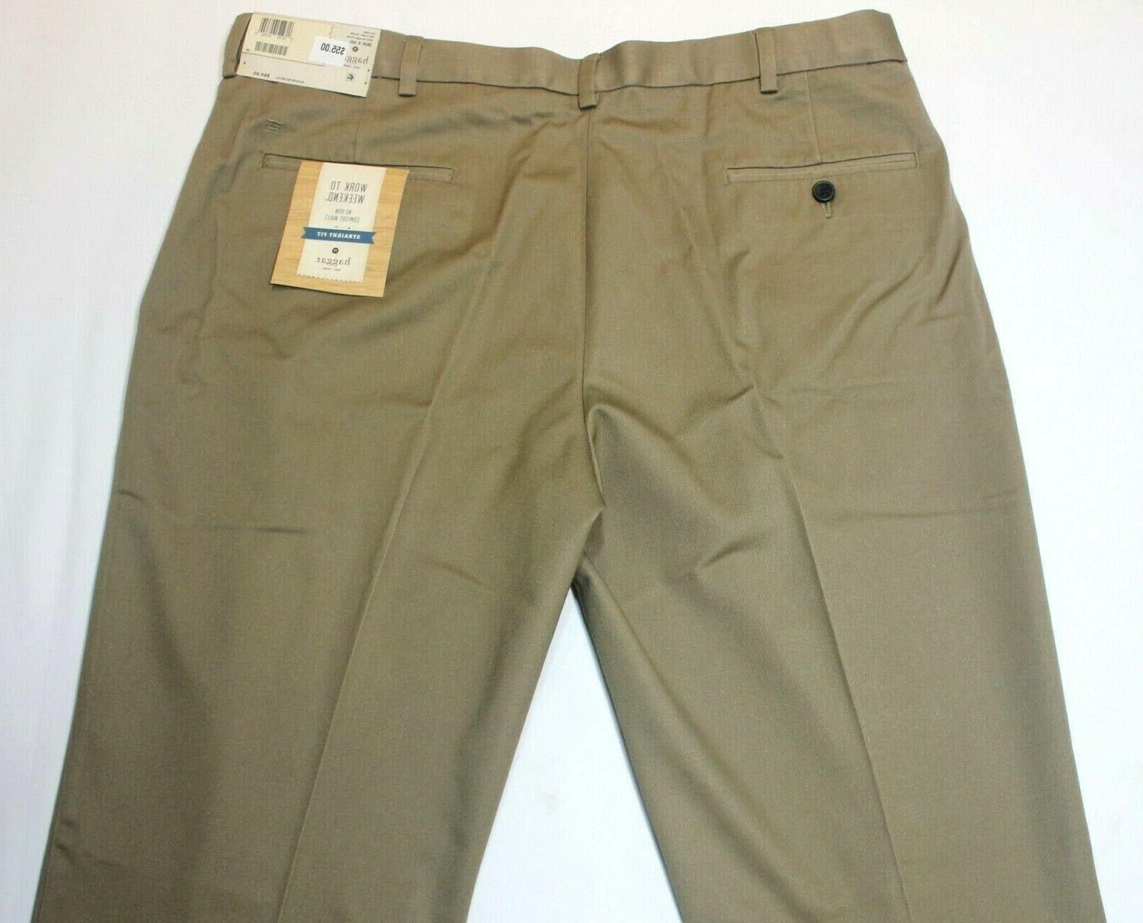 Men's Haggar Straight No Front W2W Dark Pants