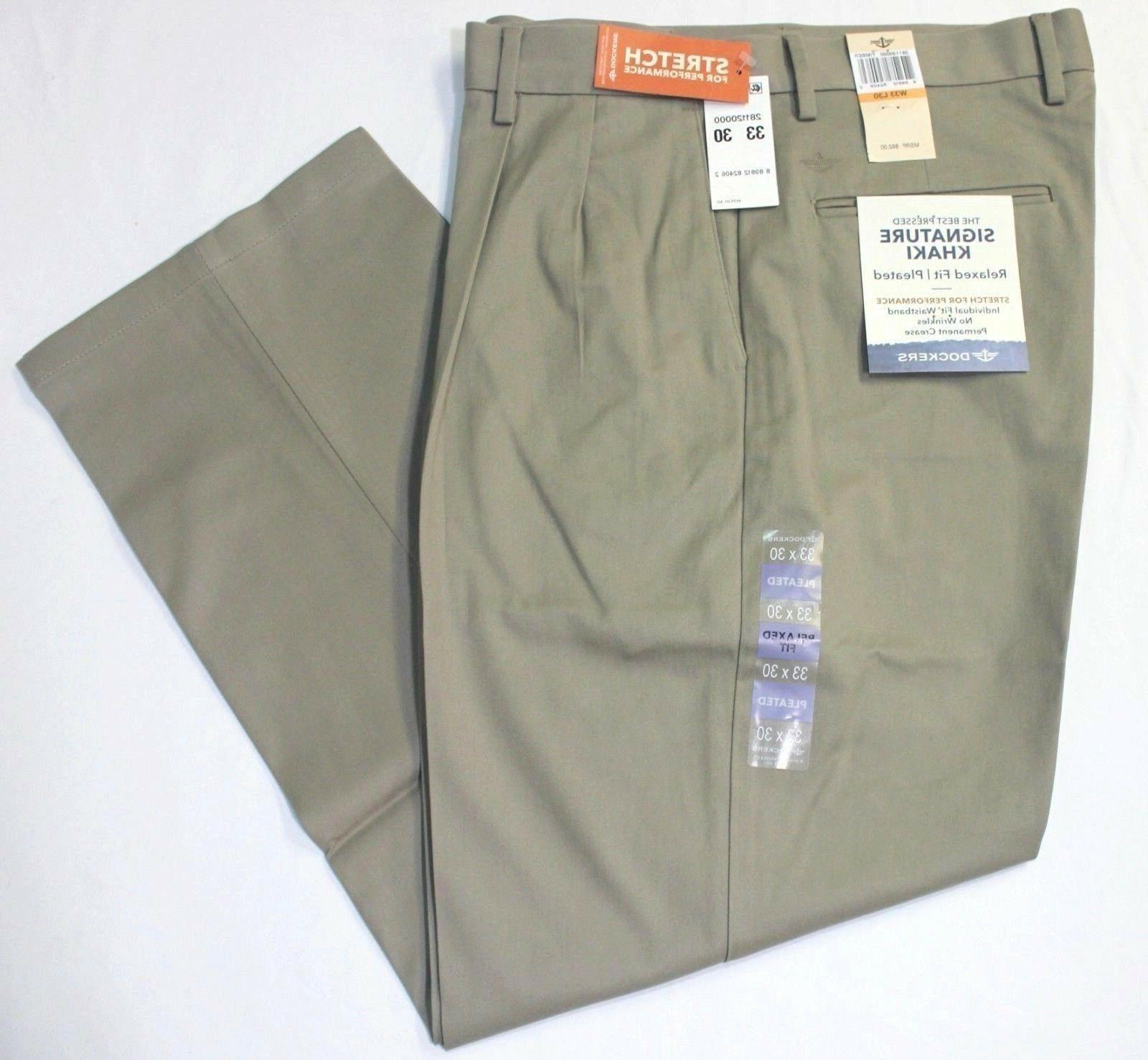 men signature khaki relaxed fit pleated beige