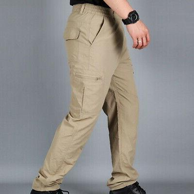 Men Waterproof Dry Hiking Pants Outdoor Tactical Climbing Cargo Trousers