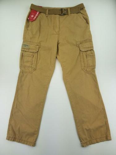 UNIONBAY Mens Cargo Pants 34x32 Belted Beige A66-13