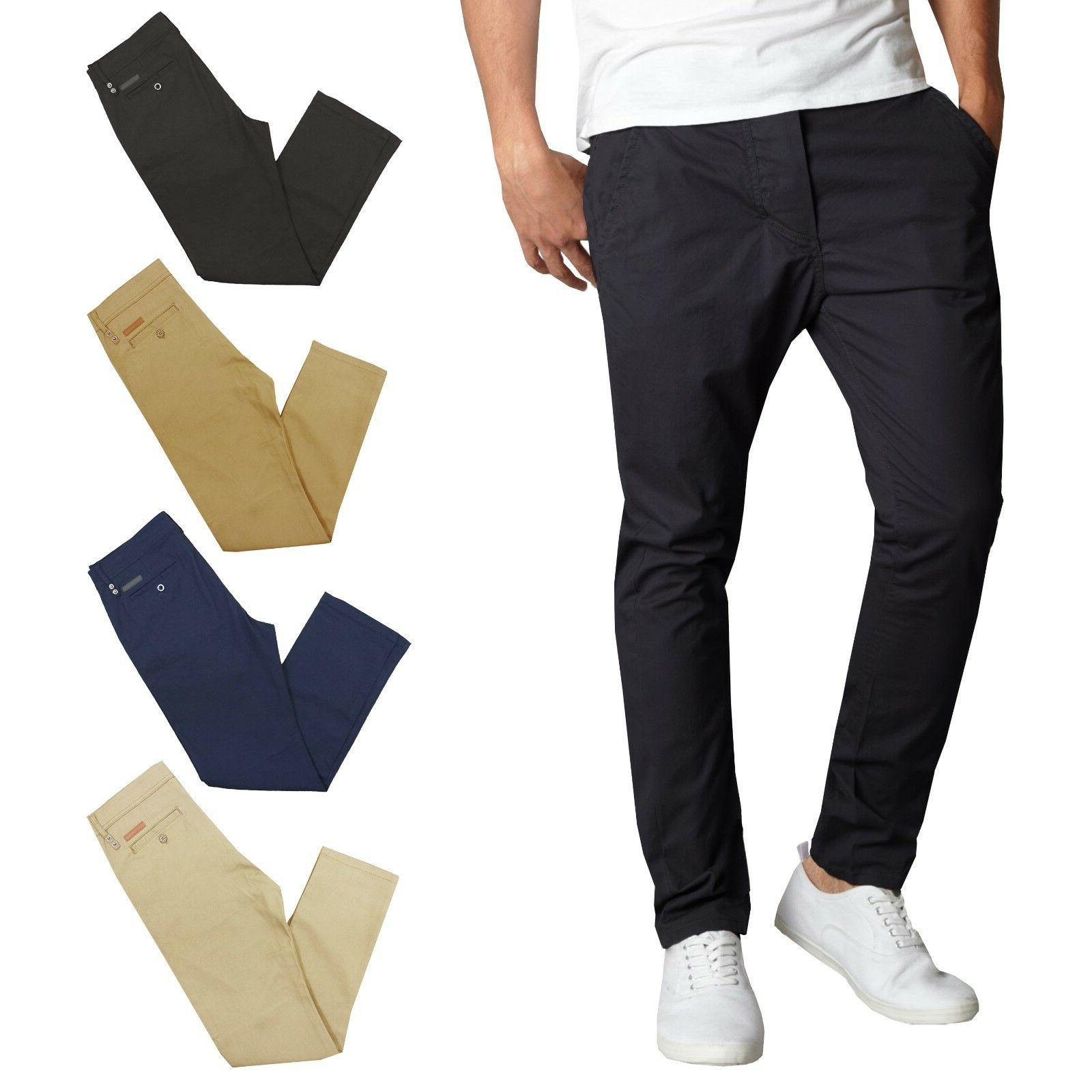 mens chino pants cotton stretch slim fit