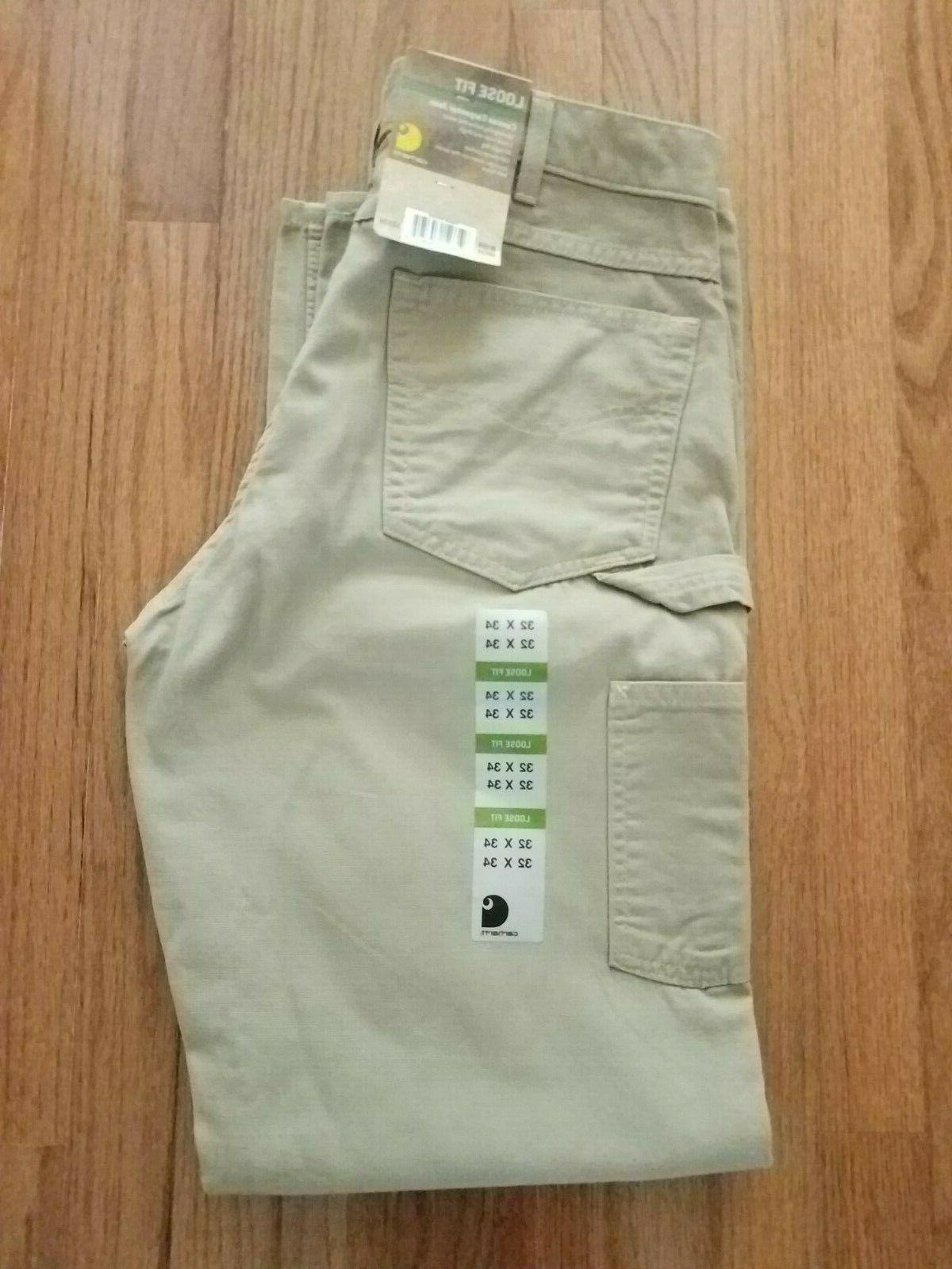 mens golden khaki carpenter pants 32x34 loose