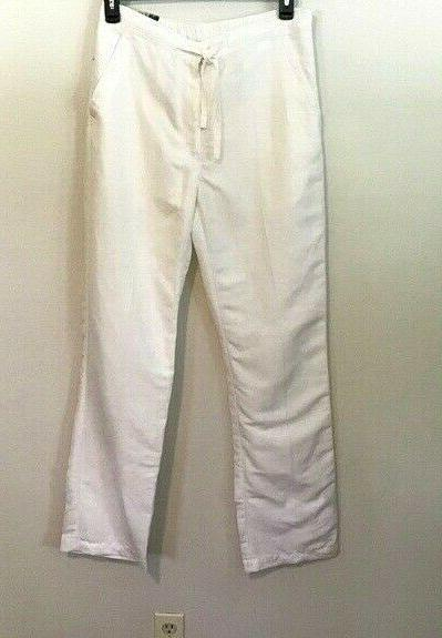 Cubavera Pants Medium White Linen Drawstring