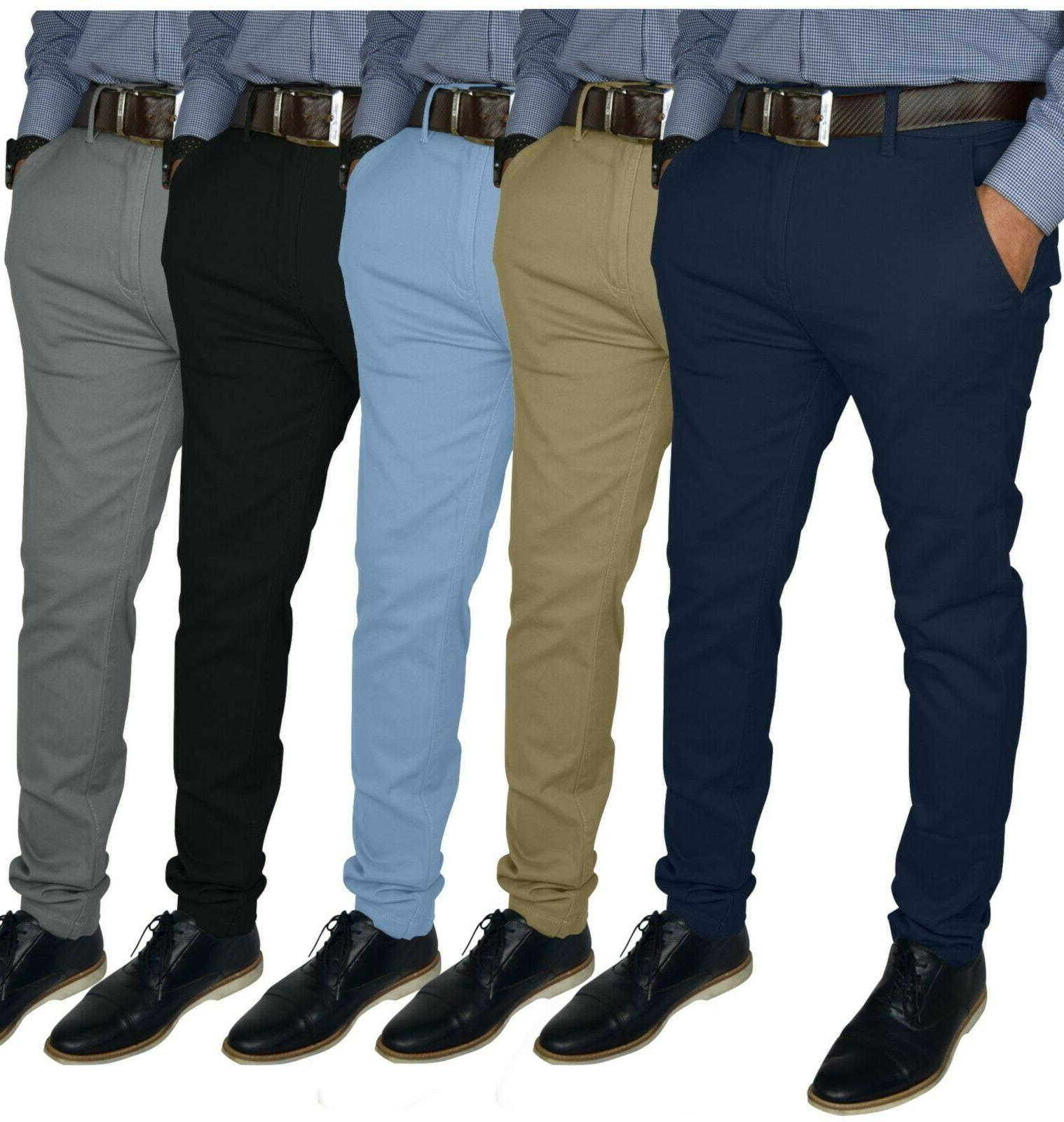 mens slim fit stretch chino trousers casual