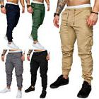 Mens Urban Jogger Cargo Straight Leg Slim Fit Trousers Casua