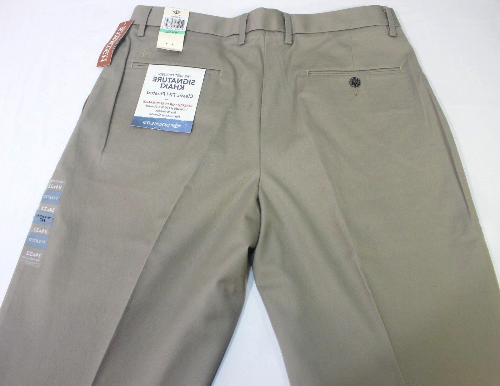Men's Dockers Pressed Signature Pleated Classic Fit Cotton Pants