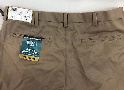 New Haggar Men's Fit Non-Iron Stretch Khaki Pants Flat Variety