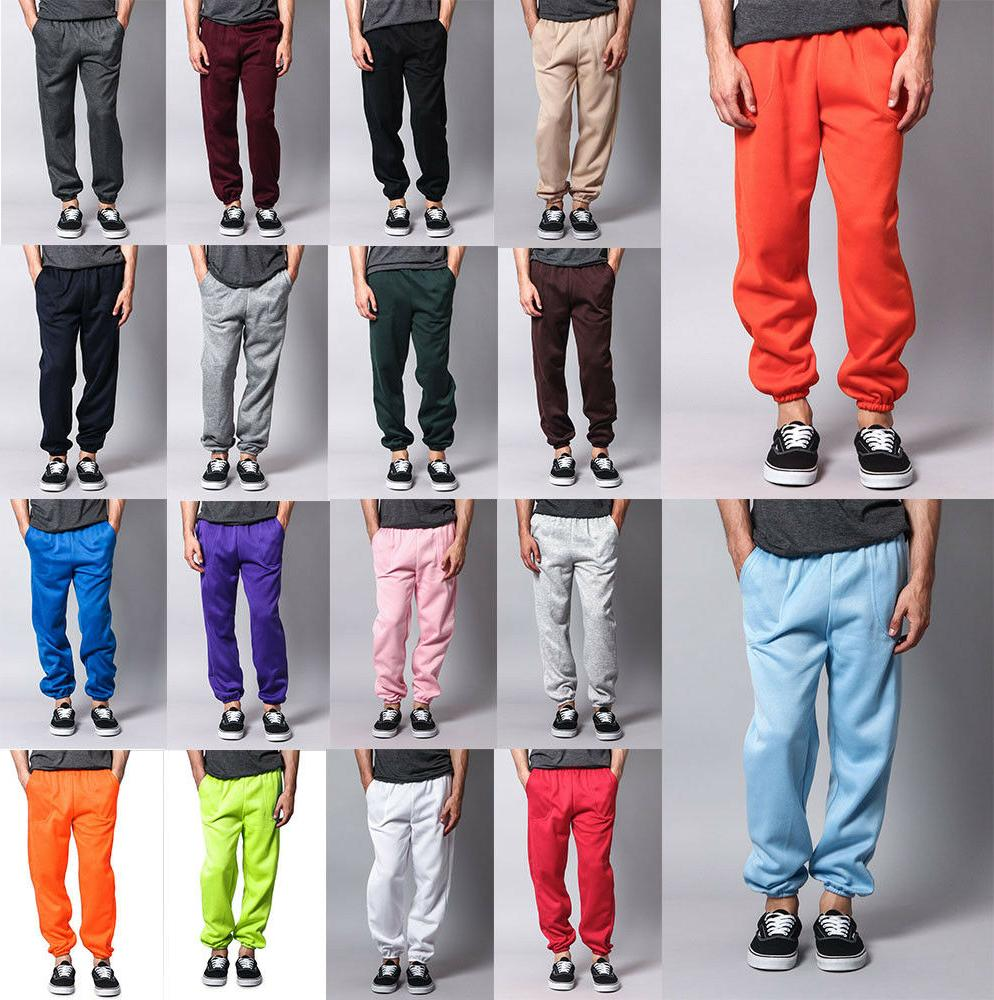 New Men's GYM Workout Basic Elastic Cuff Fleece Sweatpants S