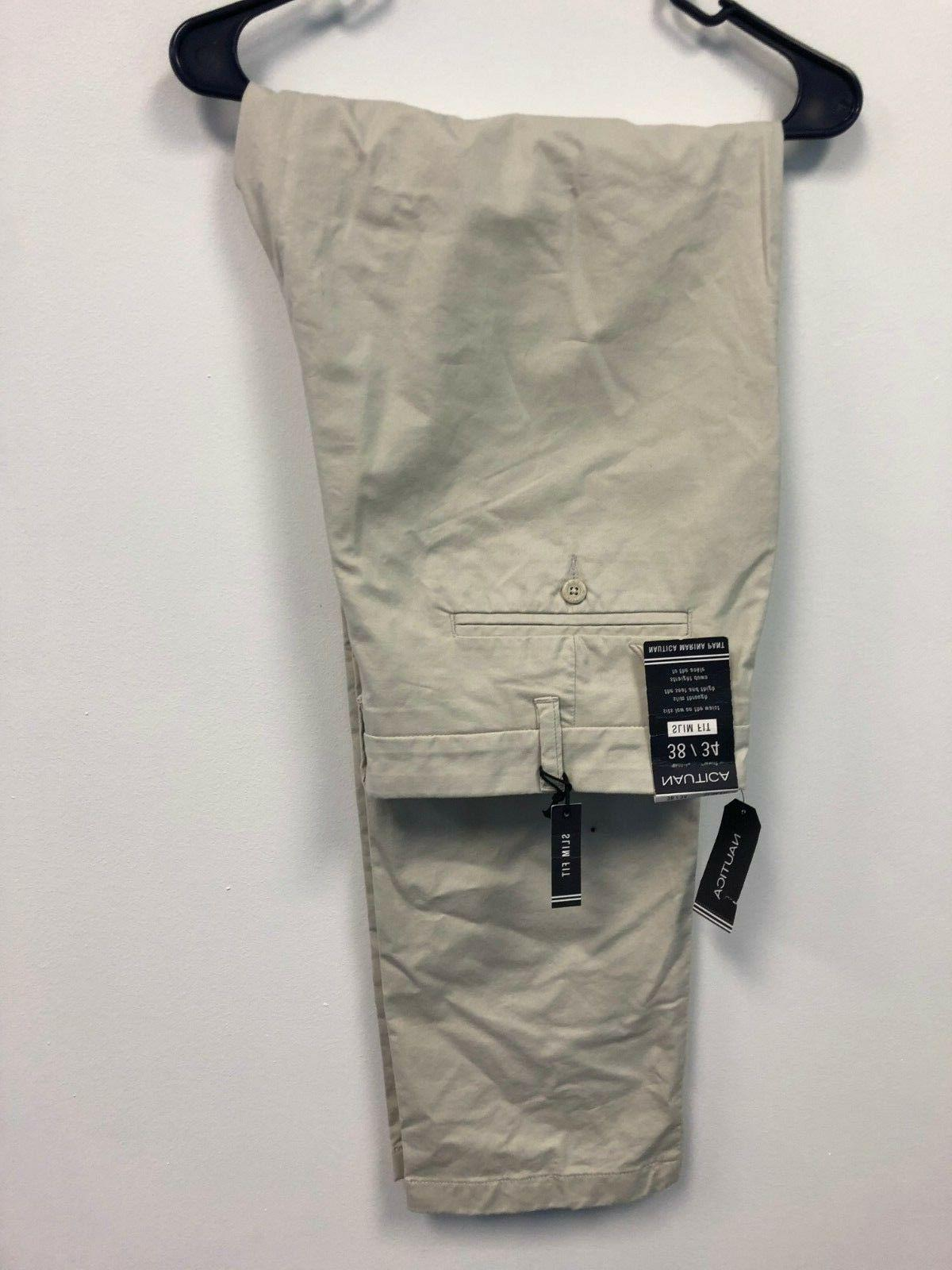 NWTS Nautica Men's Size 34 x 32 Slim Fit Marina Stretch Ston