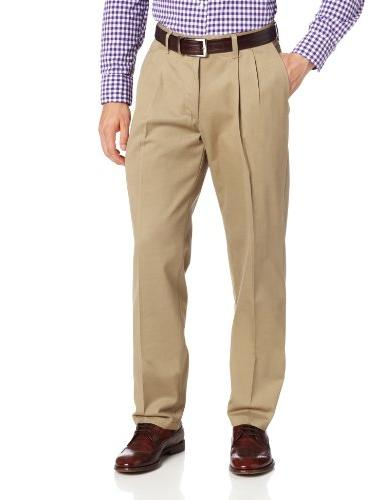 stain resistant relaxed fit pleated