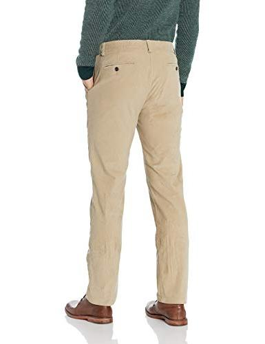 Kenneth Cole Stretch Corduroy Slim Fit Flat Casual Khaki, 33Wx30L