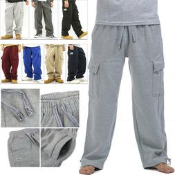 men cargo sweat pants track fleece warm