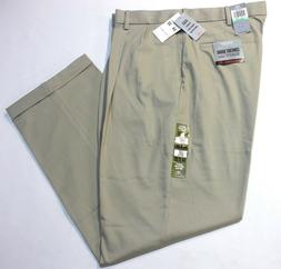 Men Dockers Comfort Khaki Relaxed Fit Pleated Beige Stretch