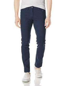 WT02 Men's Basic Color Twill Stretch Span Pants, Navy, 32X29