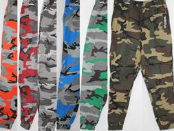 MEN CAMOUFLAGE ELASTIC JOGGER PANTS 100% COTTON 6 COLORS SIZ