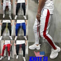 Men's Hipster Techno TRACK PANTS WITH SIDE COLOR STRIPE Zip