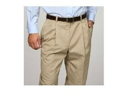 George Men's Pleated-Front Wrinkle-Resistant Color Khaki  Pa
