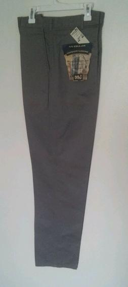 Men's LEE Relaxed Fit Plain Front Pants GREY 36X34 NWT