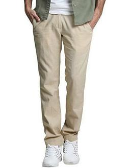 Match Men's Slim Tapered Linen Casual Pants #8059 Apricot. S