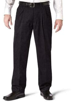 Lee Men's Stain Resistant Relaxed Fit Pleated Pant, Black, 3