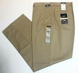 Men's Haggar Straight Fit No Iron Khaki Flat Front W2W Dark