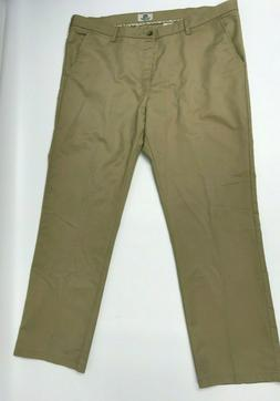 LEE Men's Total Freedom Stretch Relaxed Fit Flat Front Khaki