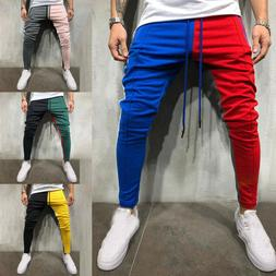 Men's Track Pants Sports Jogging Bottoms Joggers Patchwork S