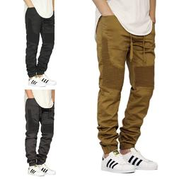 men s twill stretch biker jogger pants