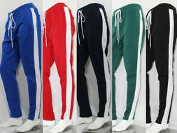 MEN TRACK PANTS WITH SIDE TAPING ANKLE ZIP STRIPE 7 COLORS S
