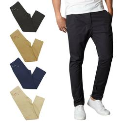 Mens Chino Pants Cotton Stretch Slim Fit Belt Zip Fly Trouse