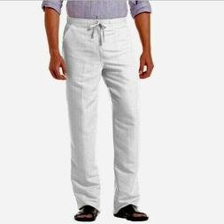 mens pants size medium white linen blend